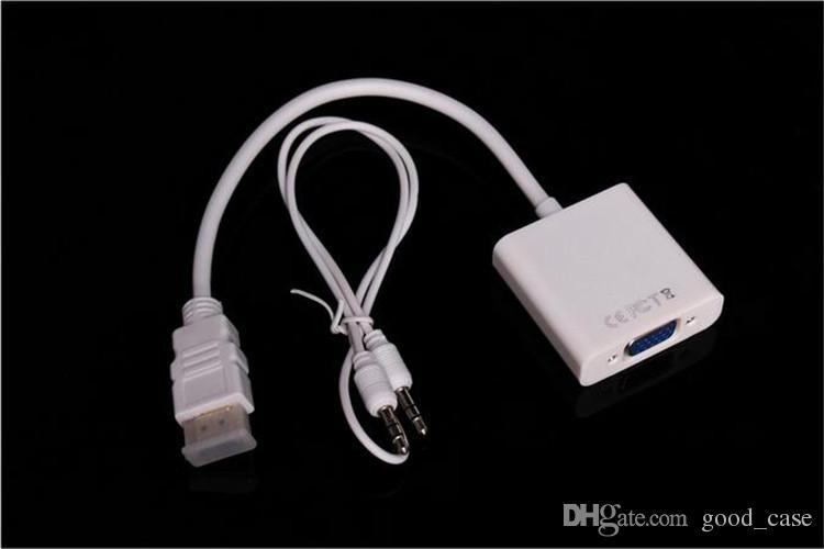 1080 p hdmi vga video çevirici adaptör 3.5mm jack ses kablosu hatları dönüştürücü siyah beyaz xbox 360 ps360 opp çanta yeni