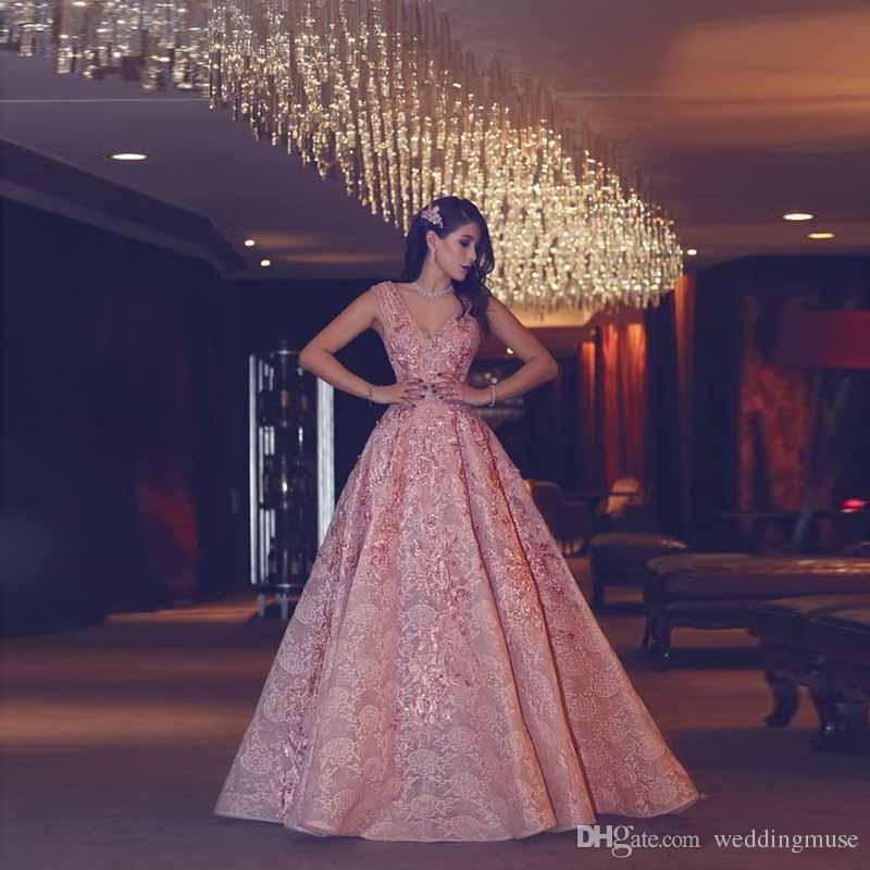 2019 Elegant Plus Size Long Night Evening Dresses Wear With V-Neck Lace Ladies Women's Formal Prom Dresses For Saudi Arabia