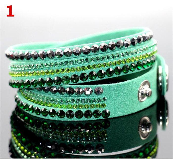 Multilayer Wrap Armbänder Slake Deluxe Leder Charm Armreifen mit funkelnden Kristall Frauen Sandy Beach edlen Schmuck Geschenk D952