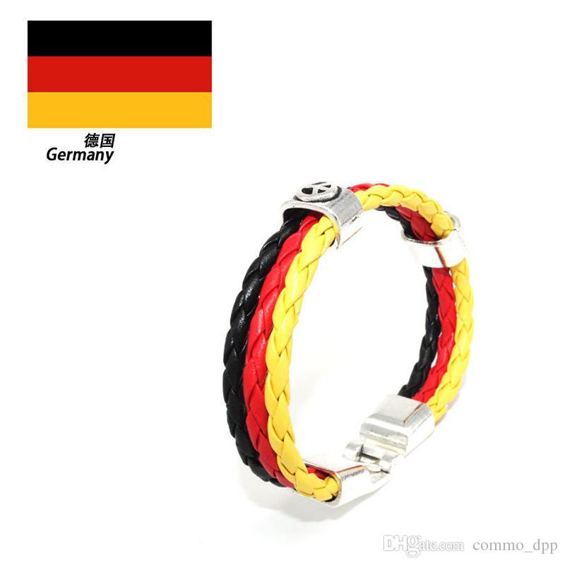 Drapeaux nationaux Bracelets Jeux olympiques Coupe du monde Fans tressé Corde Charms Bracelets Unisexe Pu Bracelet en cuir Vente chaude