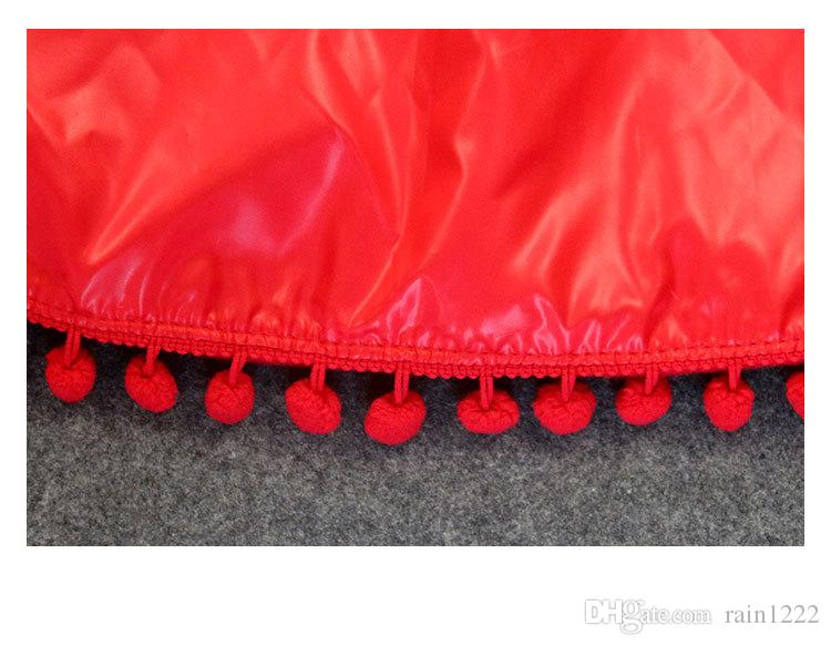 Ins New Spring Autumn Winter Girls Red Christmas Poncho Coats Children Kids Cute Fuzzy Ball Hooded Cloak Baby Toddler Festive Wear Clothing