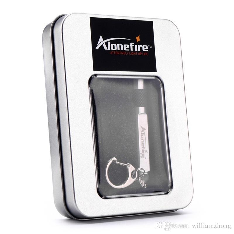 ALONDFIRE S107 CREE XPE Q5 LED Mini-lampe de poche 3 modes en acier inoxydable étanche pour porte-clés ou piles rechargeables
