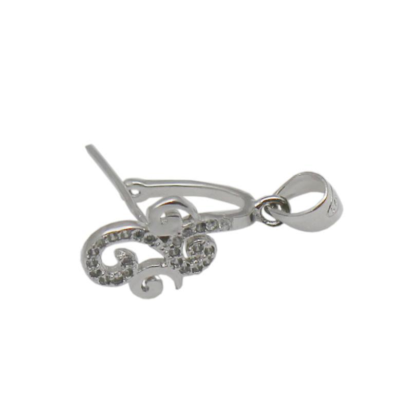 Beadsnice colgante hecho a mano CZ colgante de cristal conector Bail Pinch corchete 925 componentes de joyería de plata esterlina ID 34652