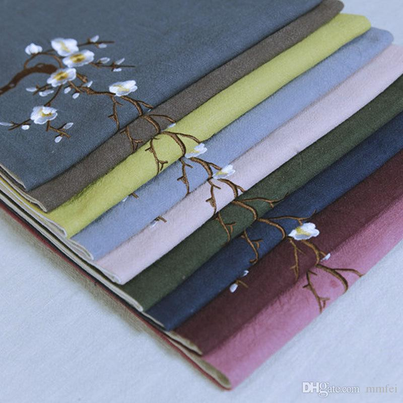 135*30cm Chinese manual linen cloth seats Zen wintersweet scented tea tea tea table runner with zero embroidery accessories