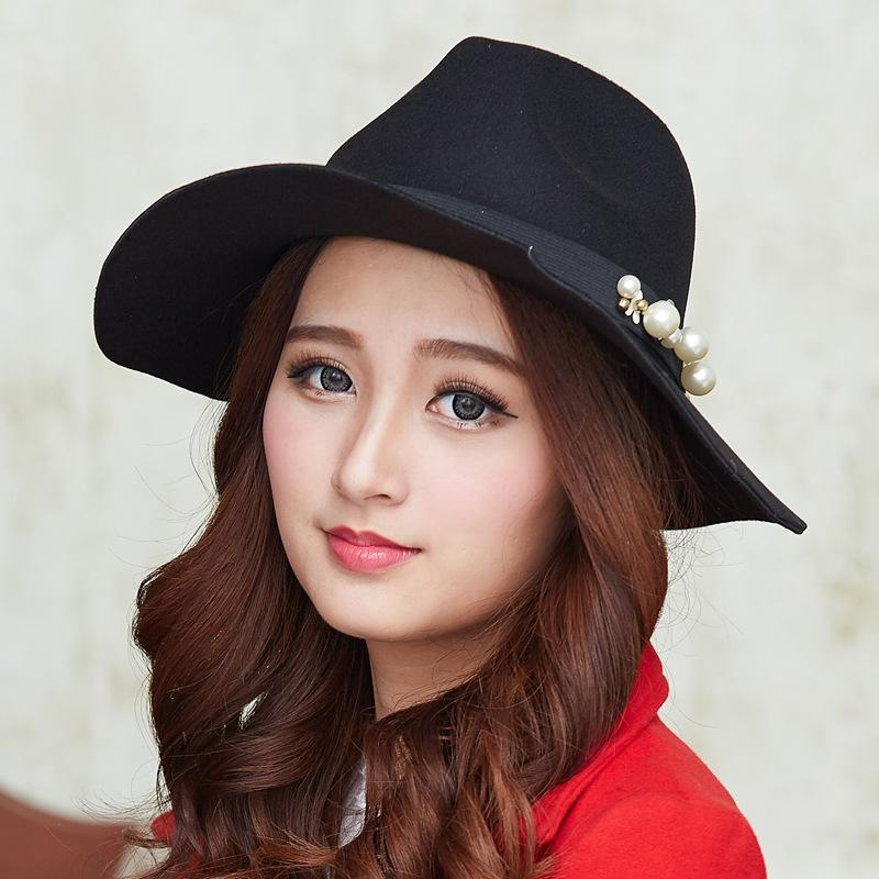 c335d3f040f17 2019 British Style Jazz Cap Hat For Women Fashion Ladies Girls Wool Felt  Fedoras Hats With Tide Pearl Female Vintage Sun Top Hats From Gslyy0712