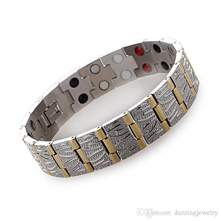 Fashion Quantum Bio Energy Titanium e bracciale in acciaio inossidabile con magnete al germanio a infrarossi anione Benefici di equilibrio di assistenza sanitaria magnetica