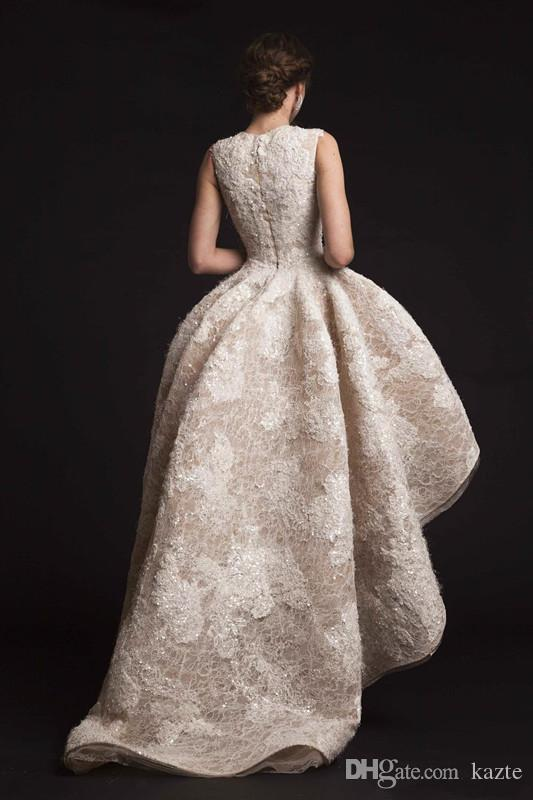 High Low Vintage Ball Gown Lace Beaded Champagne wedding dresses 2017 Krikor Jabotian bridal jewel neckline chapel train wedding gowns