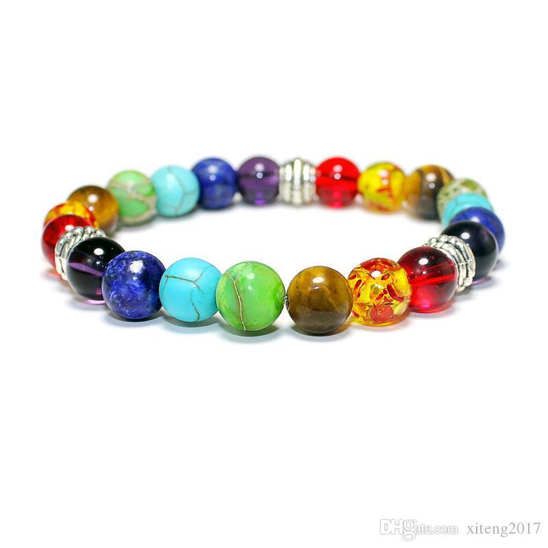 2017 Mujeres de Moda Pulsera Ajustable Natural ojo de tigre laips amatista piedra Siete colores de color Arco Iris Con Cuentas Pulseras de Yoga Equilibrio