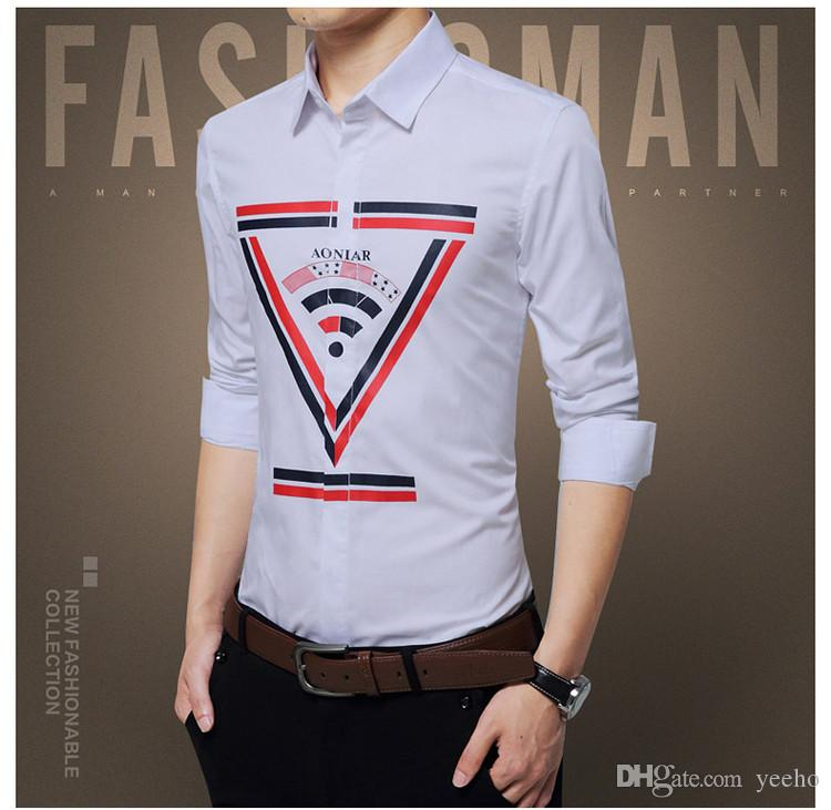 2017 New Autumn Men's Shirt Fashion Design Covered Button Long Sleeve Shirts Men Printing Slim Fit Business Cotton Shirts 5XL YH-185