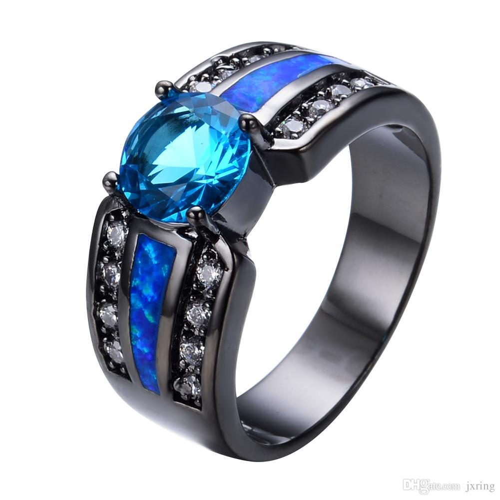 2017 light blue female opal ring 2017 black gold filled jewelry