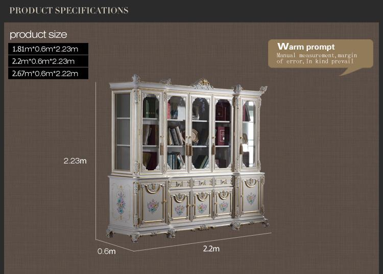 Hochwertige klassische Villa Möbel - Massivholzrahmen mit rissigen Farben Arbeitszimmermöbel - Bücherschrank im französischen Stil