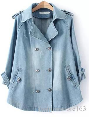 Christmas gift for 2015 Autumn Winter Plus Size Denim Cape Jacket Women Outwear 3/4 Sleeve Turn-down Collar Double Breasted Jeans Long Dress