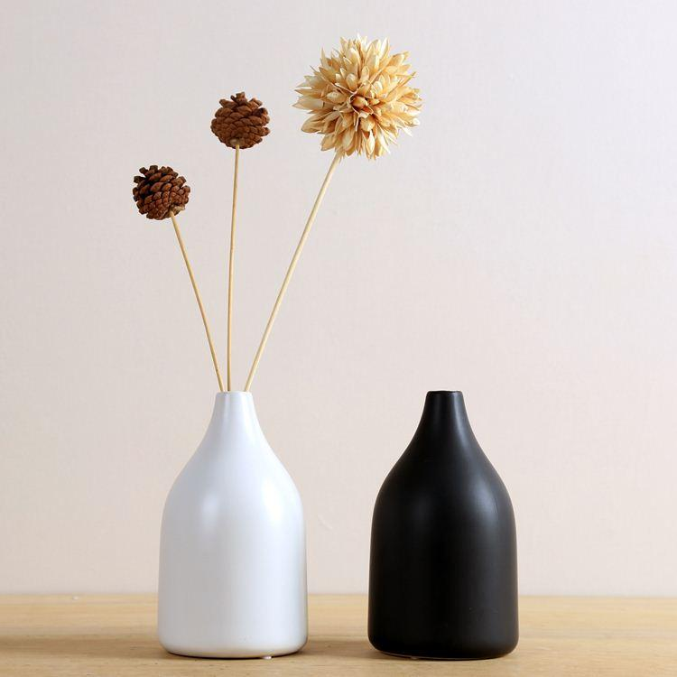 Black White Ceramic Japanese Style Vase Home Decoration Modern Brief