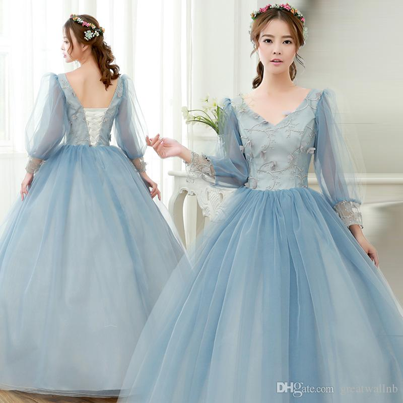 100%real Grey Blue Flower Lantern Sleeve Ball Gown Queen Gown ...