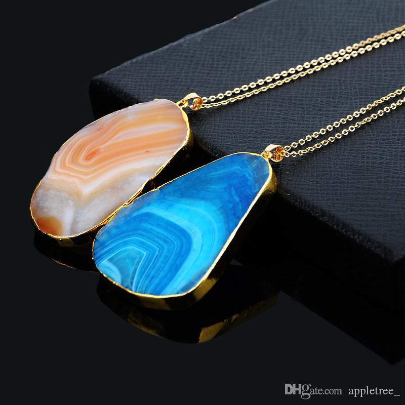 Naturstein-Anhänger-Halsketten-Frauen-Mann-Schmucknatursteinquarz-Kristallbeschaffenheits-hängender Halsketten-Frauen Mens Jewellry-Großverkauf