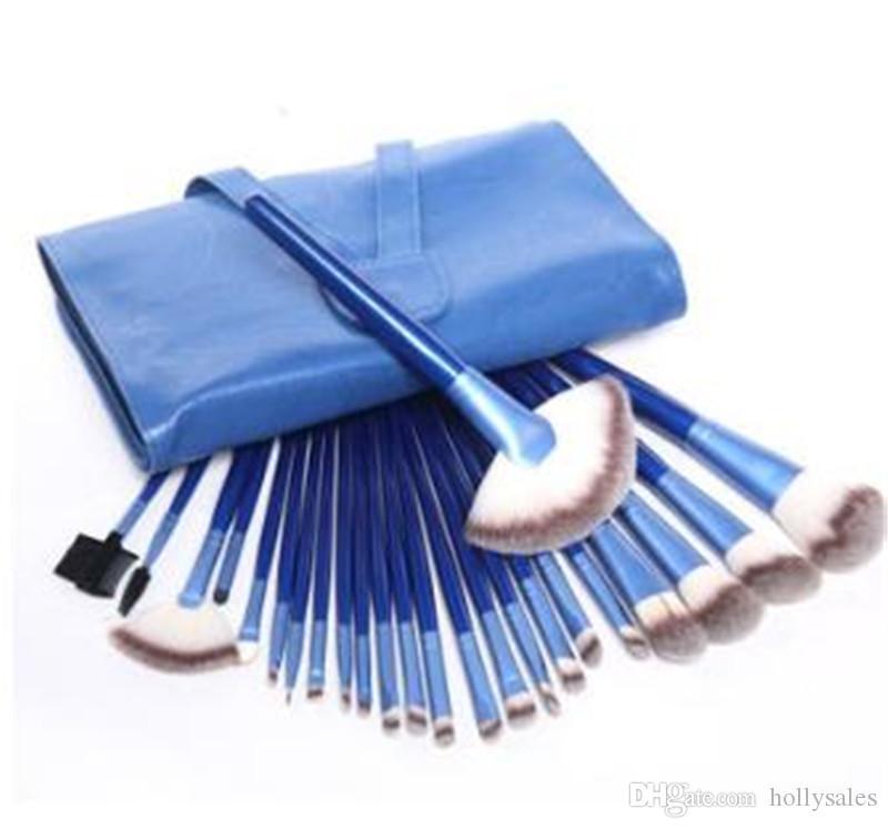 빨간색 파란색 보라색 실버 colorfull 메이크업 브러쉬 세트 전문 화장품 브러쉬 세트 키트 + 주머니 케이스 여자가 도구를 확인하십시오