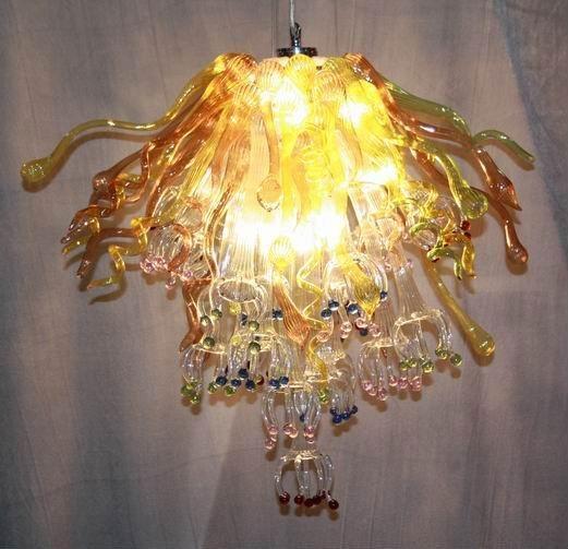 Lampade Home / Ciondoli decorativi matrimoni Illuminazione a ciondoli colorati Luci a sospensione colorata Forma del fiore Lampadine Bulbs a mano Blown Murano Lampadari in vetro