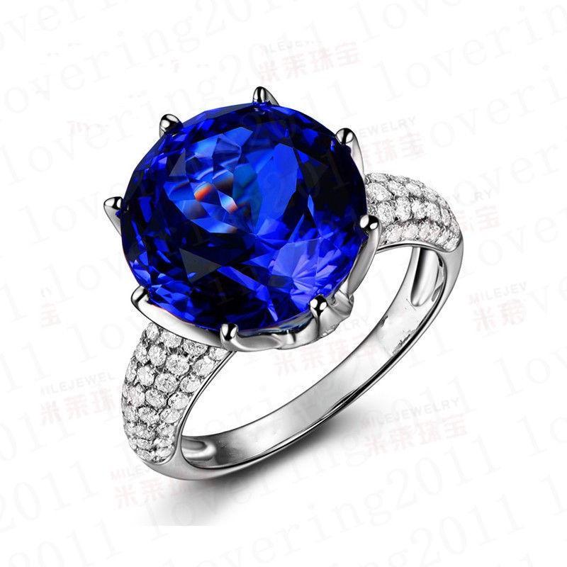 Dimensioni 5-11 Gioielli Donne fatte a mano Solitario 8CT Blue Zapphire CZ Diamante 925 Sterling Silver Silver Band Crown anelli le donne Amore regalo