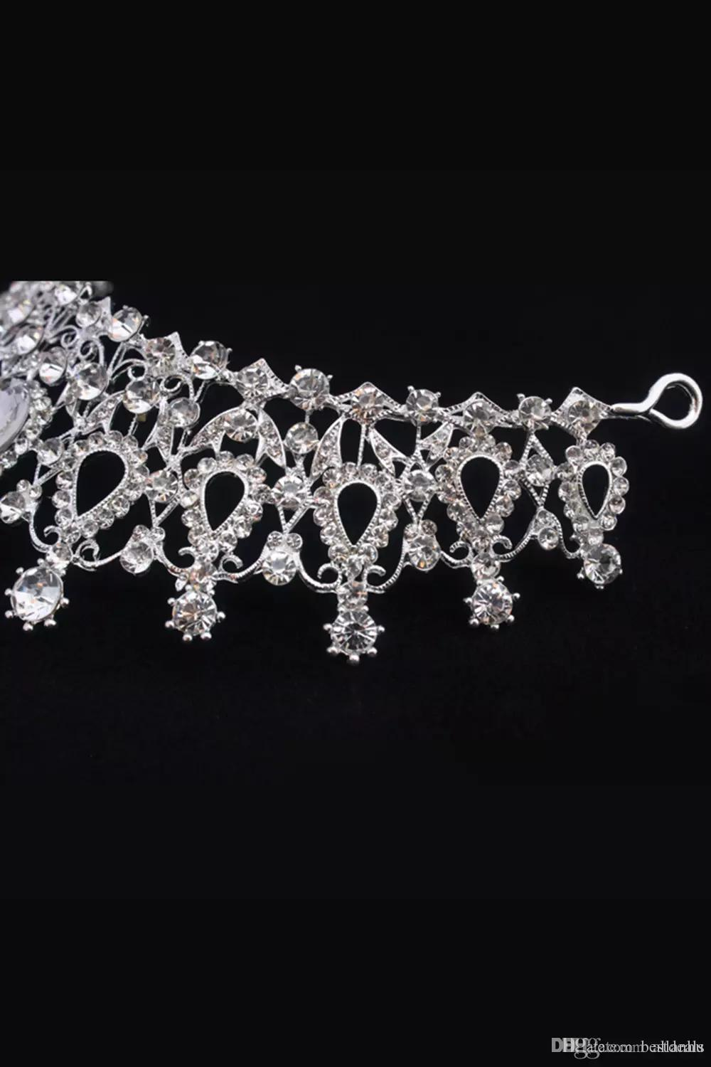 Luxury Bridal Crown Cheap but High Quality Sparkle Beaded Crystals Royal Wedding Crowns Crystal Veil Headband Hair Accessories Party CPA790