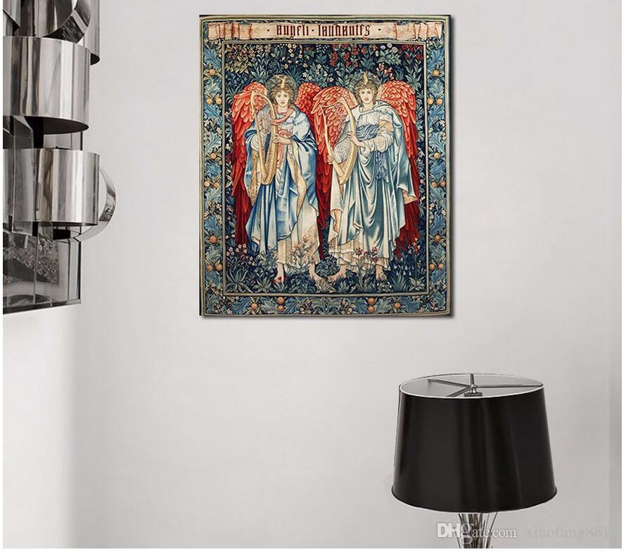 Retro Fashion Europe style Angel wing harp wall Art picture decoration poster Canvas Painting for living room oil print unframed