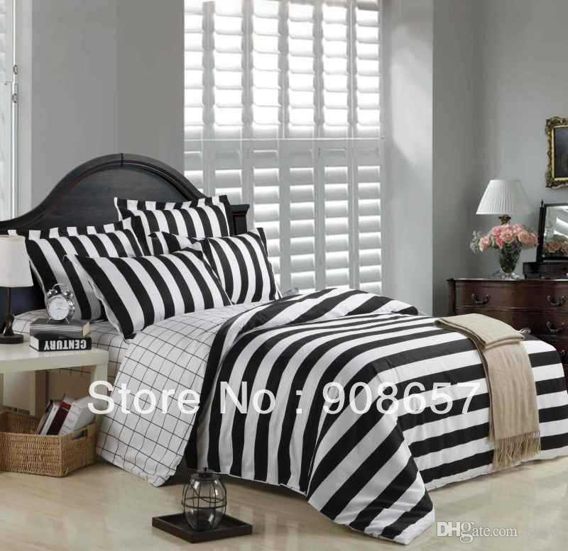 2018 black white stripes printed cotton men 39 s bedding set cheaper comforter covers for full. Black Bedroom Furniture Sets. Home Design Ideas
