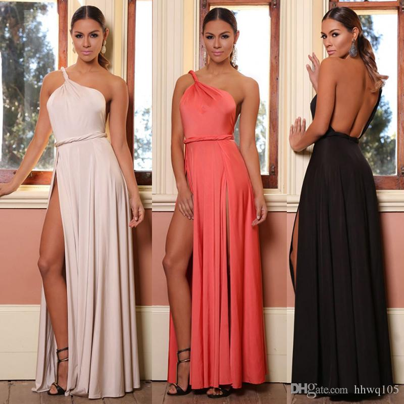 New Ladies One Shoulder Maxi Dress Floor Length Split Prom Dress