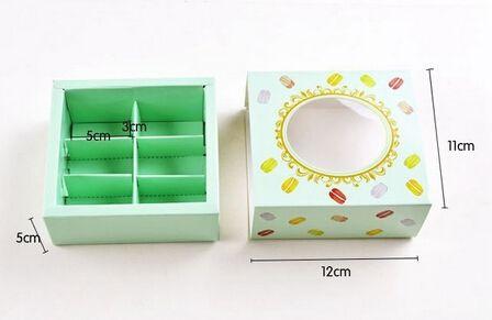 La nuova scatola di carta della torta di Macaron di 12 * 11 * 5.2cm con i biscotti di finestra che imballano la scatola a il trasporto /