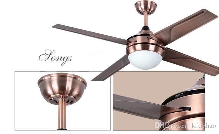 Chandelier Fan chandelier lamp LED European antique iron leaf fan chandelier fan light simple stylish modern remote control