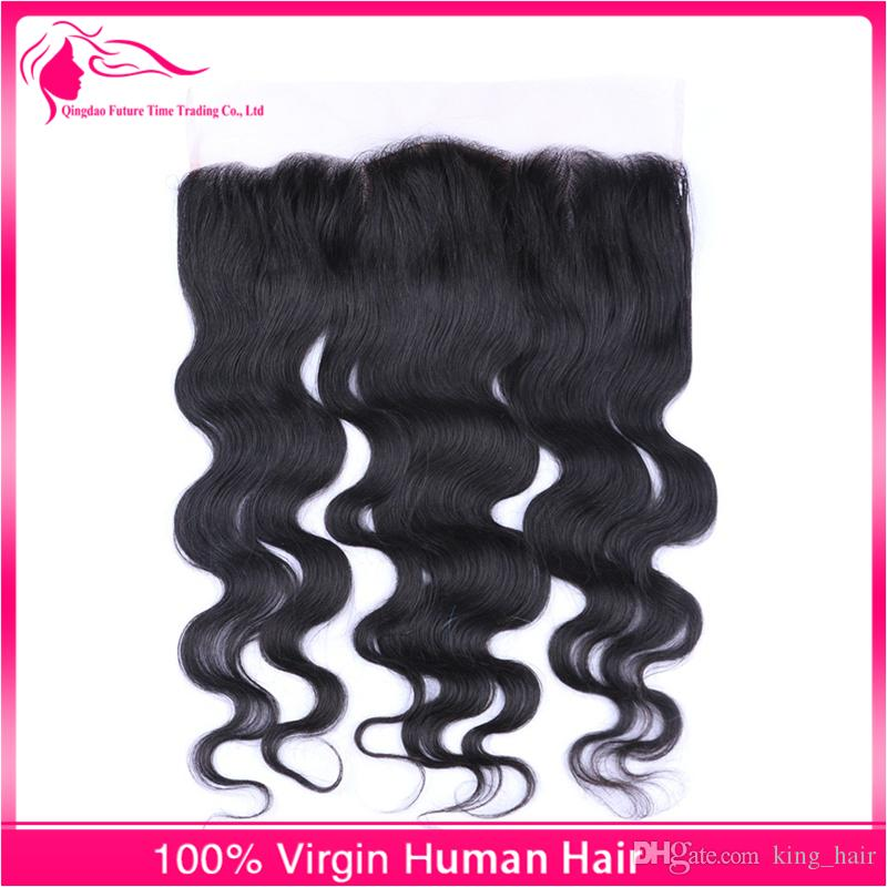 Волна тела 9А человеческих волос Шелковая основа кружева фронтальная закрытие с ребенком волос уха до уха отбеленные узлы топ закрытие