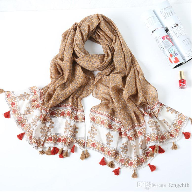 Floral Women Wraps 4 Colours Mixed Beach Shawls Fashion Print Tassels Long Big Scarves 2017 New Arrivals