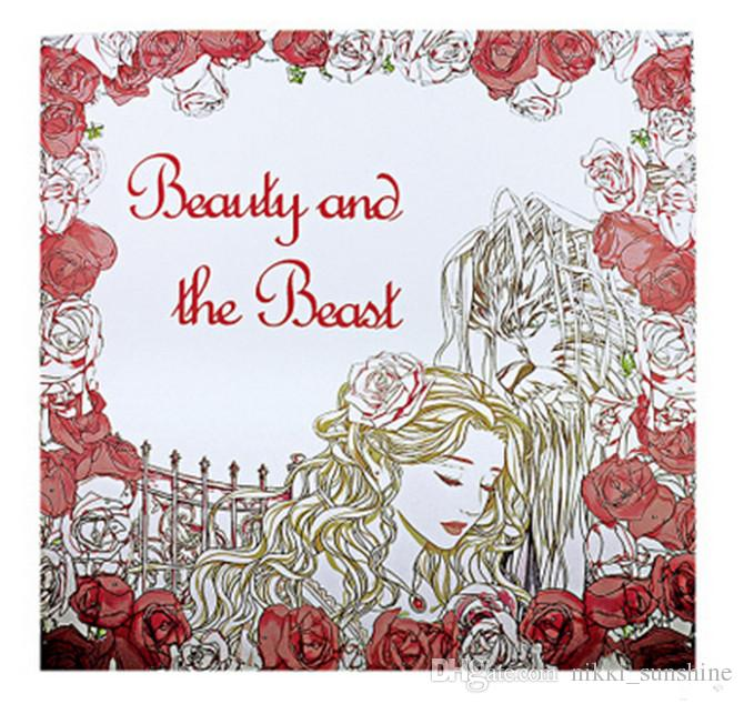 Beauty And The Beast Coloring Book For Children Adult Relieve Stress Kill Time Graffiti Painting Drawing 48 Pages Enchanted Forest