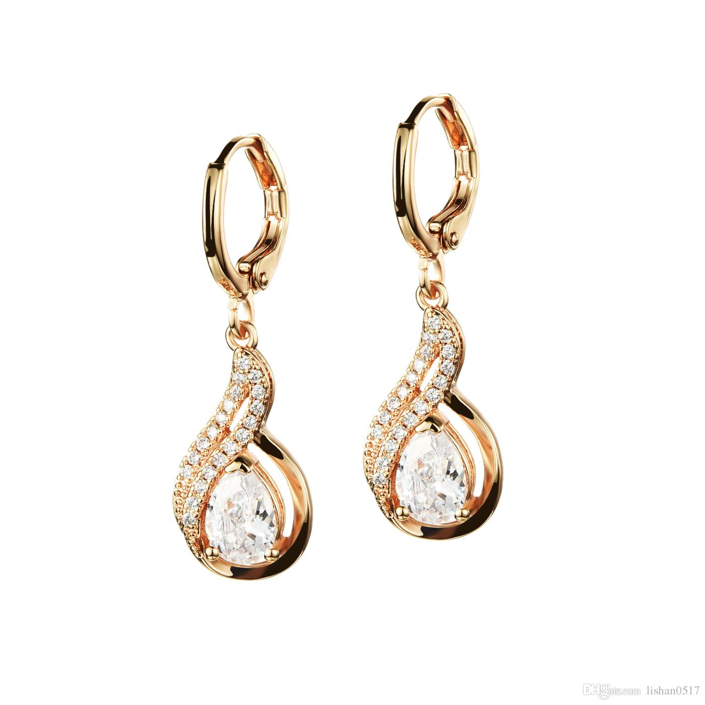 09b884f219 New Arrival Fashion Jewelry 18K Gold Plated Inlaid CZ Diamond Accessories  Women's Drop Earrings Simple Style Gift for Girl SKE658