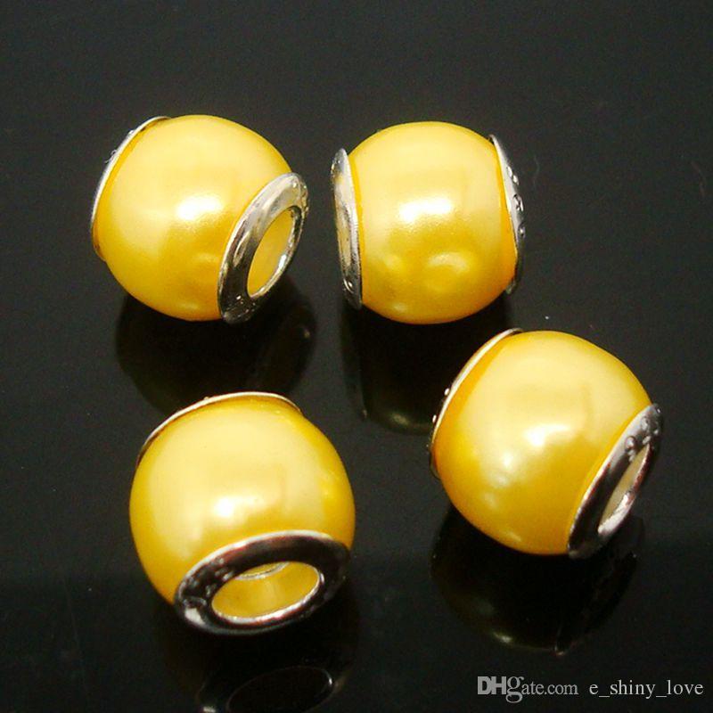 100 teile / los Schöne Gelbe Nachahmung perlen Silber kern lose Europäischen Großes Loch Acryl Charms Perlen für Schmuck Machen Niedrigen Preis