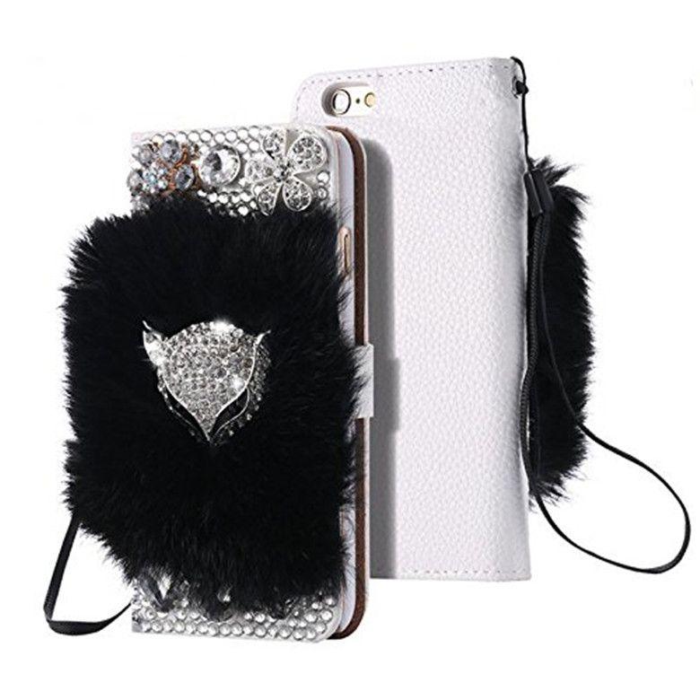 Bling Diamond Fourrure Flip PU Portefeuille Portefeuille Coffre-Téléphone pour iPhone 7 8Plus XR XSMAX 11 12 13 PRO Max Girl Mobilephone Couverture