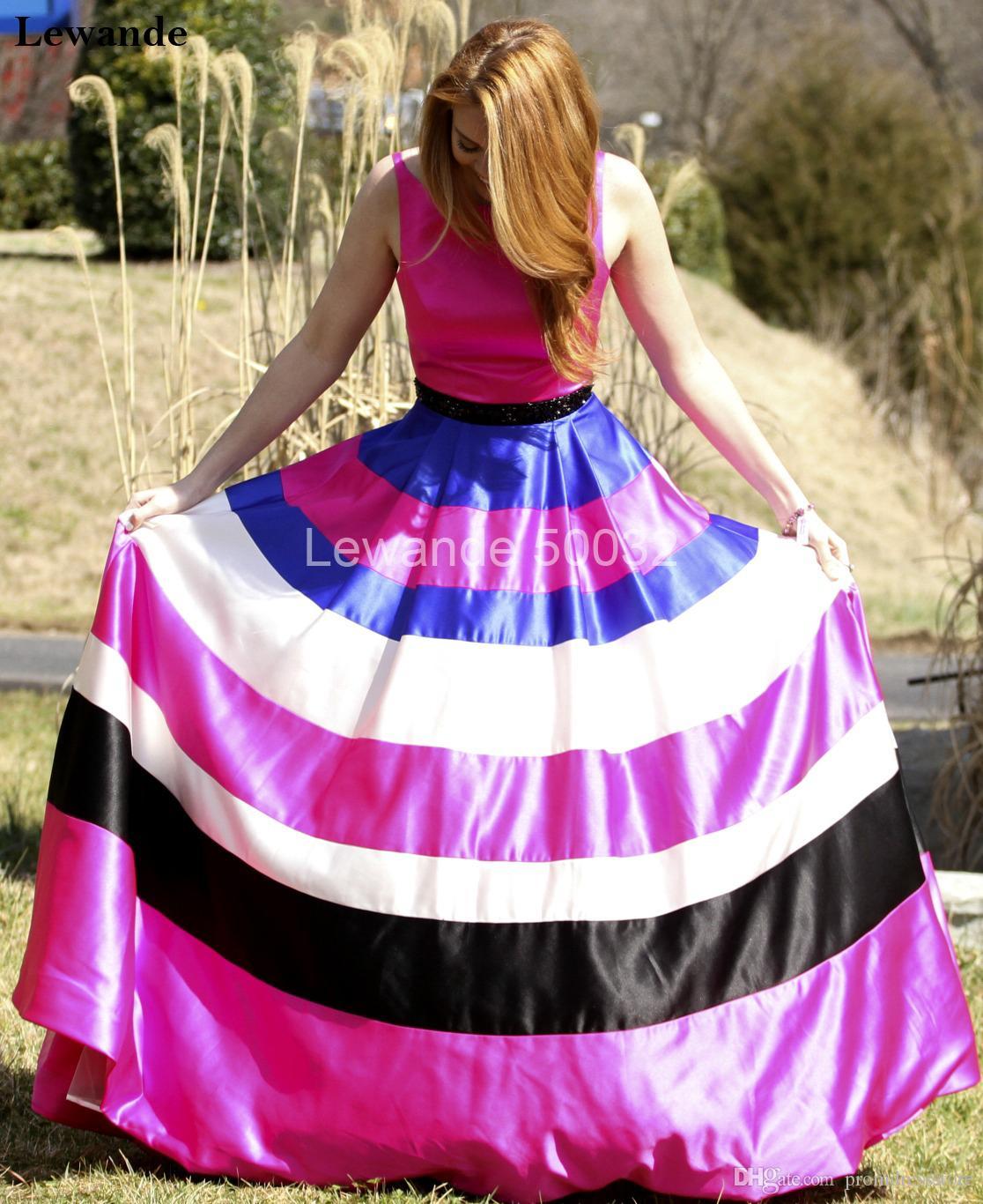 Compre Vestido De Fiesta De Graduación De Satén Multicolores Con ...