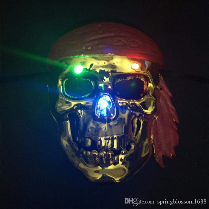halloween party plastic mask led pirate skull masquerade party supplies theater prop cosplay animal full face masks party decorations cheap masquerade party - Halloween Party Decorations Cheap