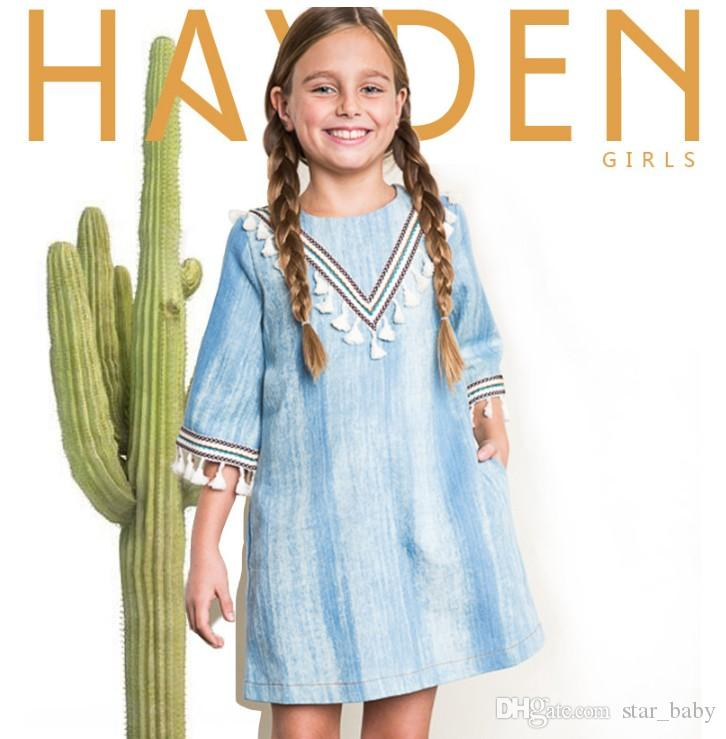 b4d7d49a3fc1 Autumn Europe And America Fashion Indian Design Denim Tassel Dresses ...