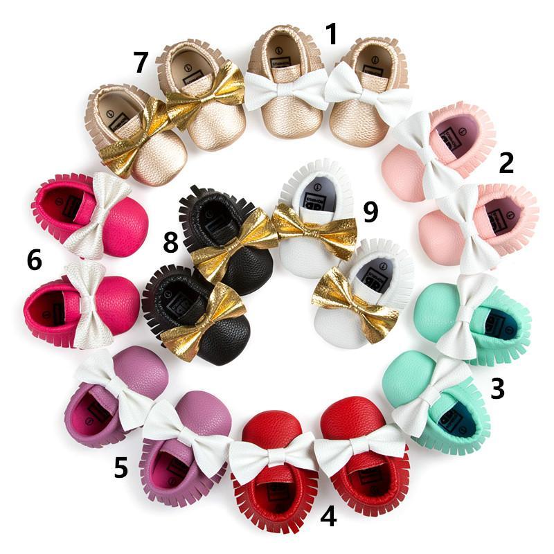 아이 아기 첫 번째 워커 색상 매칭 bowknot은 부드러운 바닥 tassel 유아 신발 봄과 가을 아기 신발 아기 소녀 파티 신발