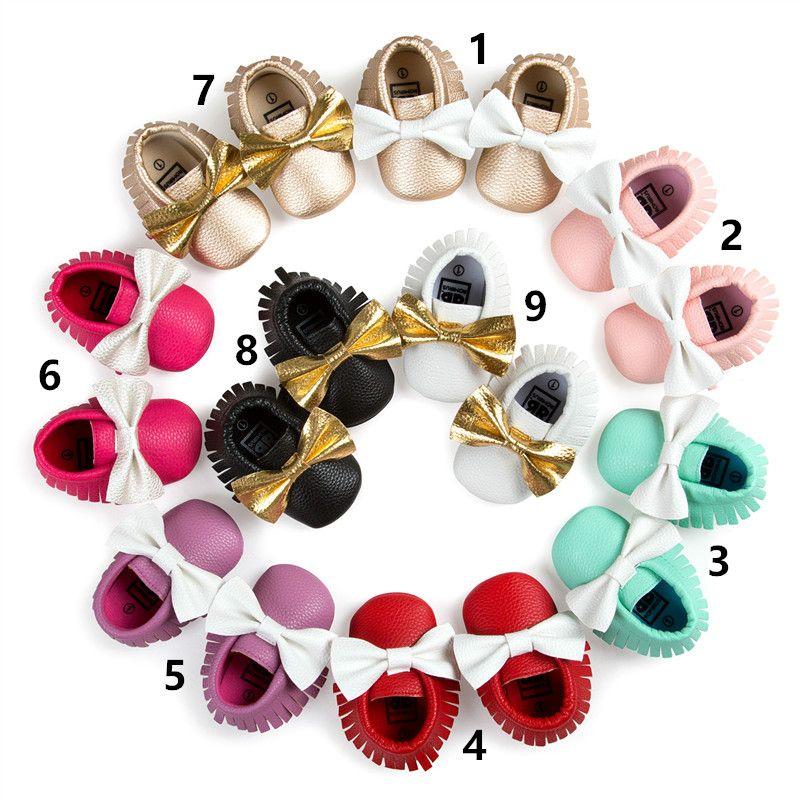 Niños Bebé Primeros caminantes Color a juego El Bowknot es la parte inferior suave Zapatos con borlas para niños pequeños Primavera y otoño Zapatos para bebés Zapatos de niña