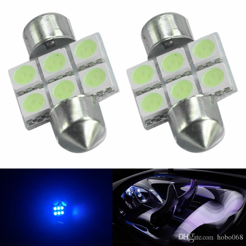 10 pz Ice Blue 31mm 6-SMD 5050 Auto TRACCIA Lettura interna Lampadine Festoon Dome Lampada a LED