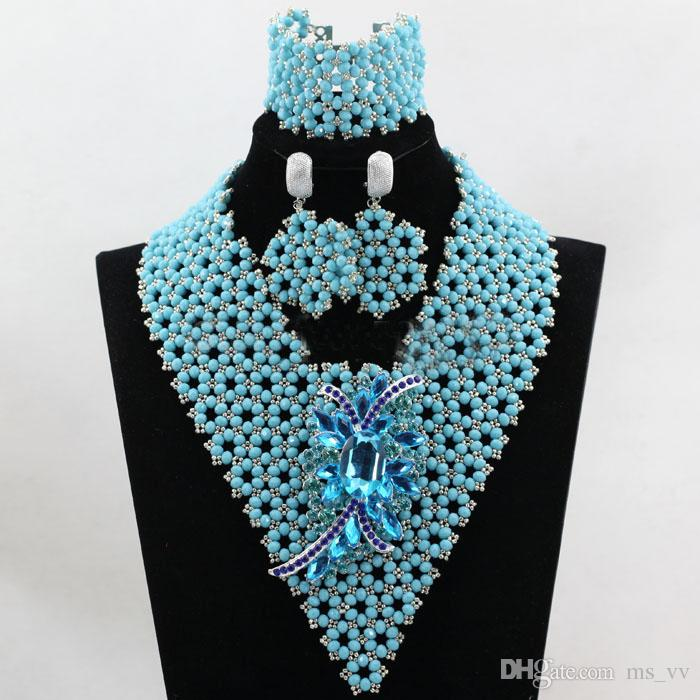 Amazing Clips Sky Blue Silver African Beads Jewelry Sets Fashion ...