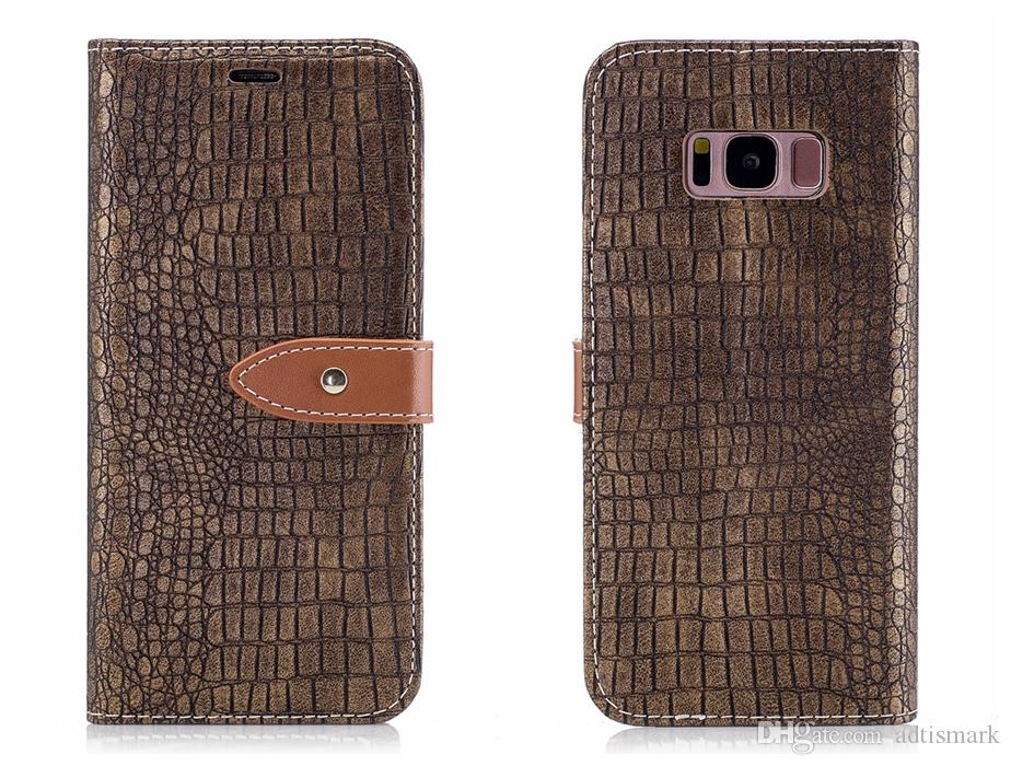 إلى Samsung Galaxy S8 S7 Case جراب فليب جلد فاخر Alligator جلد Crocodile جلد Samsung S7 edge S8 Plus كفر