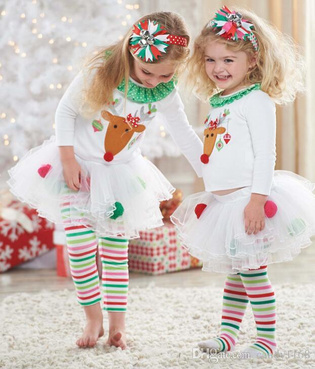 Girls New Year Christmas Dress 2pcs Suits T-Shirt+tutu Skirt Pants Long Sleeve Cartoon Deer Pattern Outfits Sets Baby & Kids Clothing