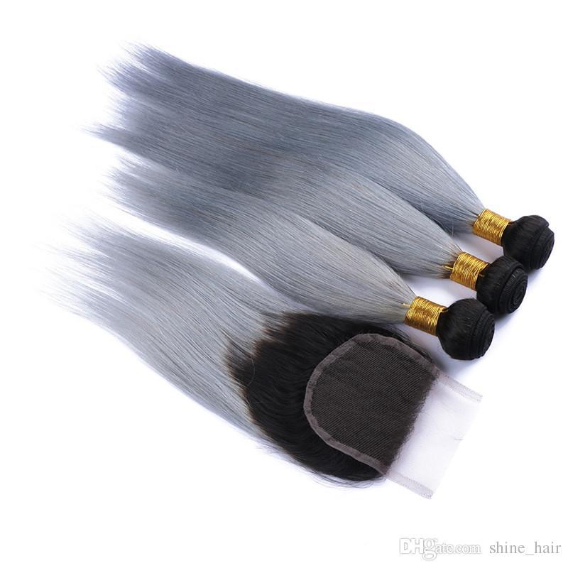 페루 실버 회색 옹이 머리 클로저 와 함께 9A 학년 1B / 회색 옹 브 인간의 머리 3Bundles 스트레이트 4x4 레이스 클로저