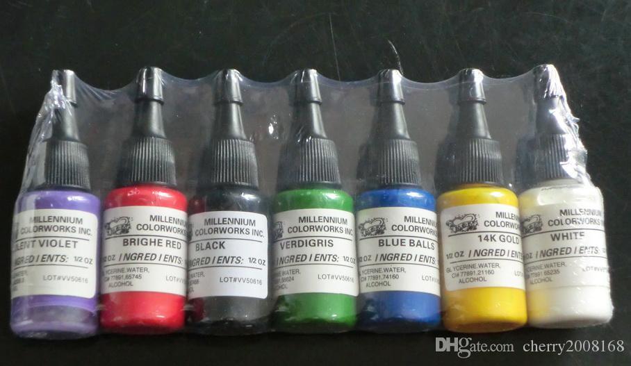 Venta caliente Tintas de Tatuaje Suministro 15 ML / Botella es Pigmento de Tinta de Tatuaje Sets 0.5OZ Pigmento de Tinta de Tatuaje