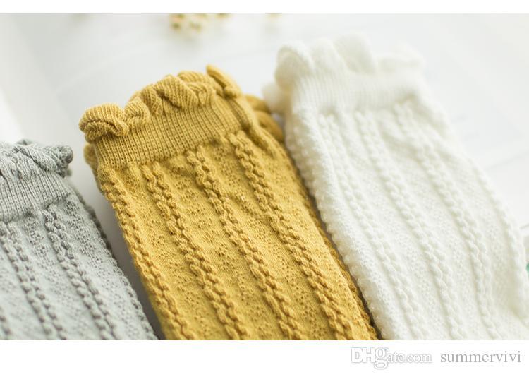 Calcetines para niños calcetines de punto con volantes para niñas y niños, todos combinan hasta la rodilla, moda para niños, hasta la rodilla, algodón para niños, medias es A8411