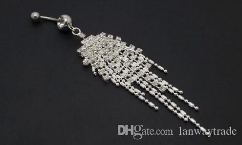 Free By DHL 316L Surgical Steel Crystal Rhinestone Belly Button Rings Tassel Navel Dangle Navel Bar Rings Piercing Body Jewelry