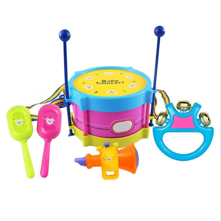5 unids / set Instrumentos Musicales Juego Conjunto Colorido Educativo Tambores Juguetes Handbell Trompeta Sand Hammer Drum Sticks