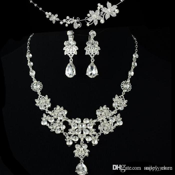 Bridal Wedding Accessories Tiaras Hair Necklace Earrings Accessories Wedding Jewelry Sets cheap price fashion style bride