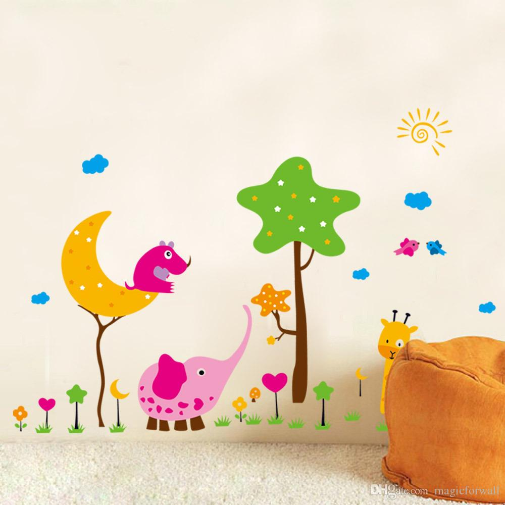 Cartoon Animals Tree Cloud Birds Grass Land Wall Stickers for Kids Boys Room Nursery DIY Home Decor Wall Applique Star Moon Wall Mural